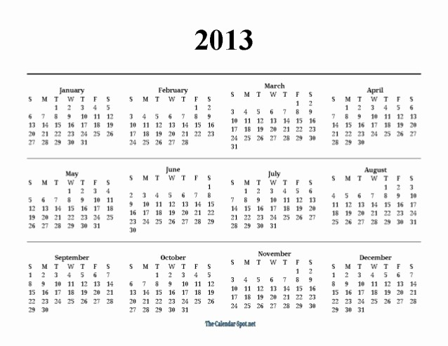 2013 Calendar Printable One Page Awesome Printable 2013 E Page Yearly Pdf Calendar