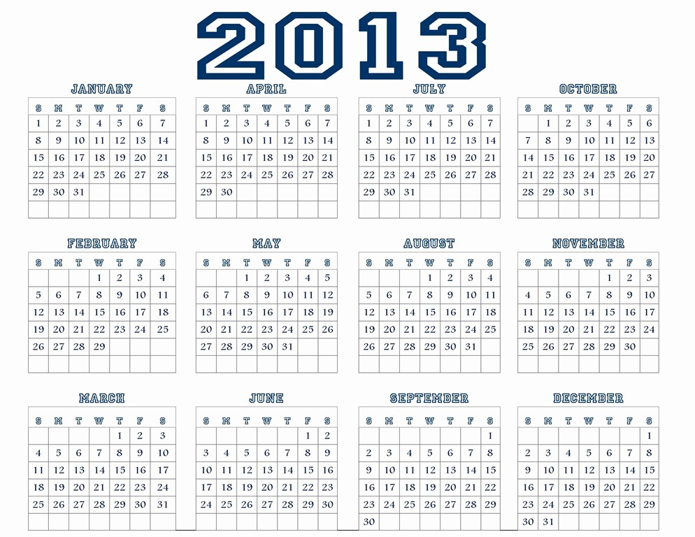 2013 Calendar Printable One Page Beautiful 2013 Calendar – 2017 Printable Calendar