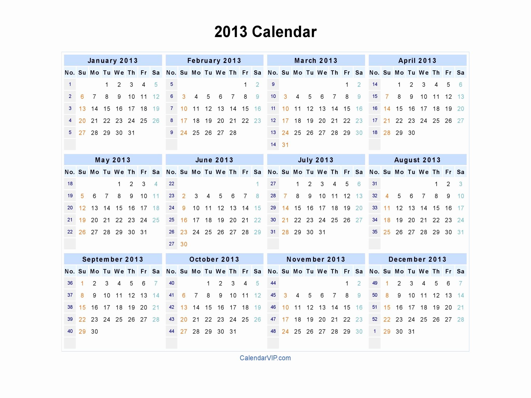 2013 Calendar Printable One Page Beautiful 2013 Calendar Blank Printable Calendar Template In Pdf