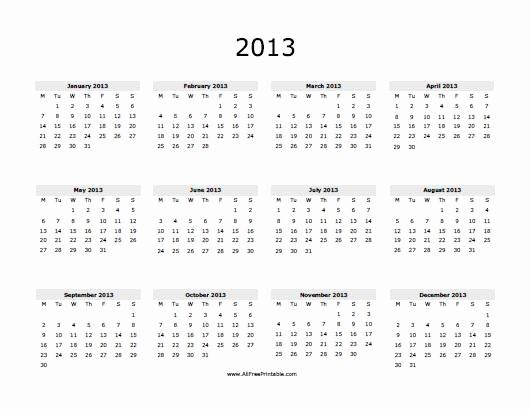 2013 Calendar Printable One Page Beautiful 5 Best Of 2013 Calendar Free Pdf Printable 2013