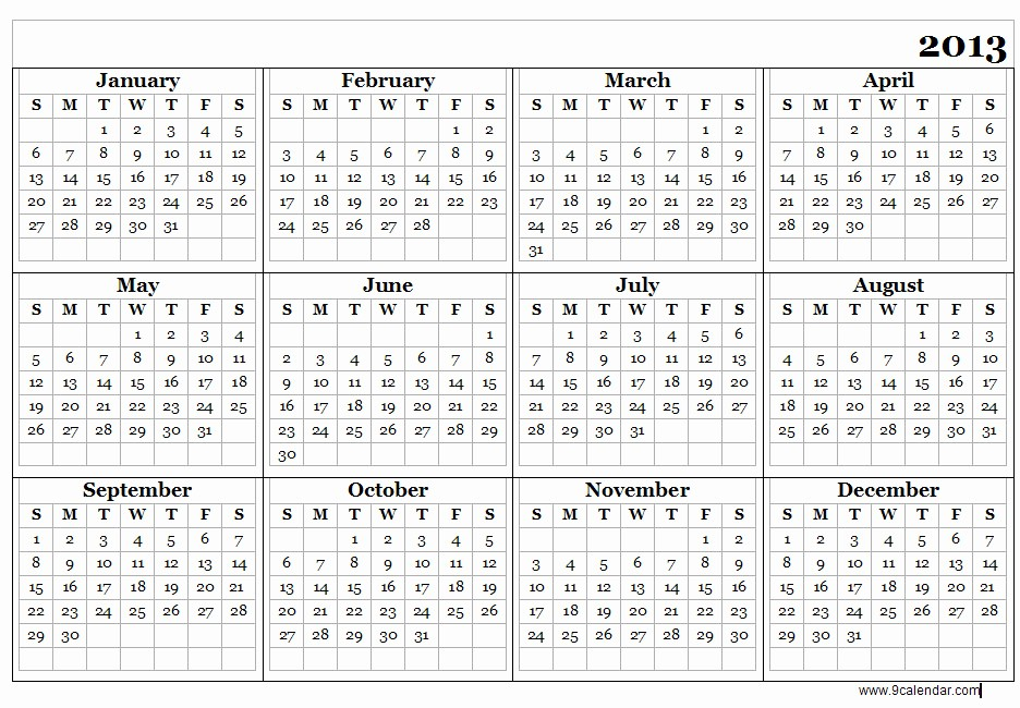 2013 Calendar Printable One Page Beautiful Year Calendar 2013 Printable Calendar Template 2018
