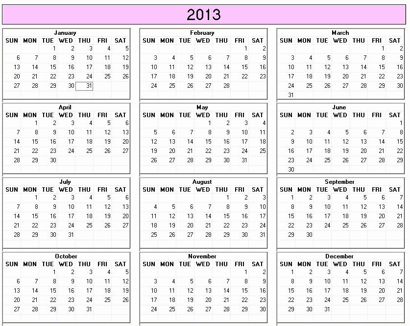 2013 Calendar Printable One Page Elegant 2013 Calendar 30 Day Challenge