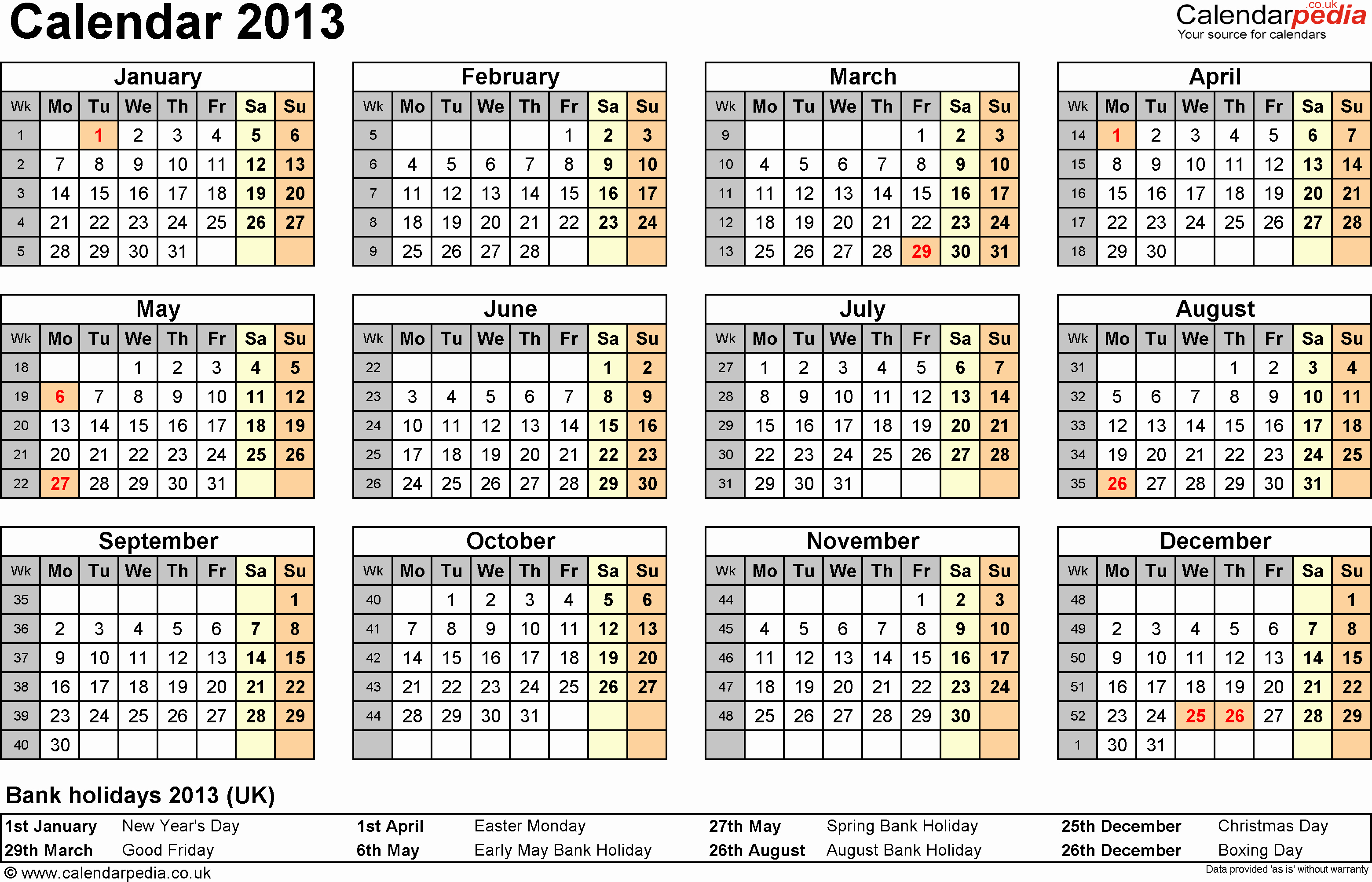 2013 Calendar Printable One Page Elegant Calendar 2013 Uk as Word Templates In 12 Different Versions