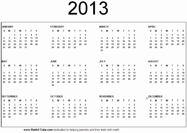 2013 Calendar Printable One Page Fresh 5 Best Of 2013 Year Calendar Printable Pdf 2013
