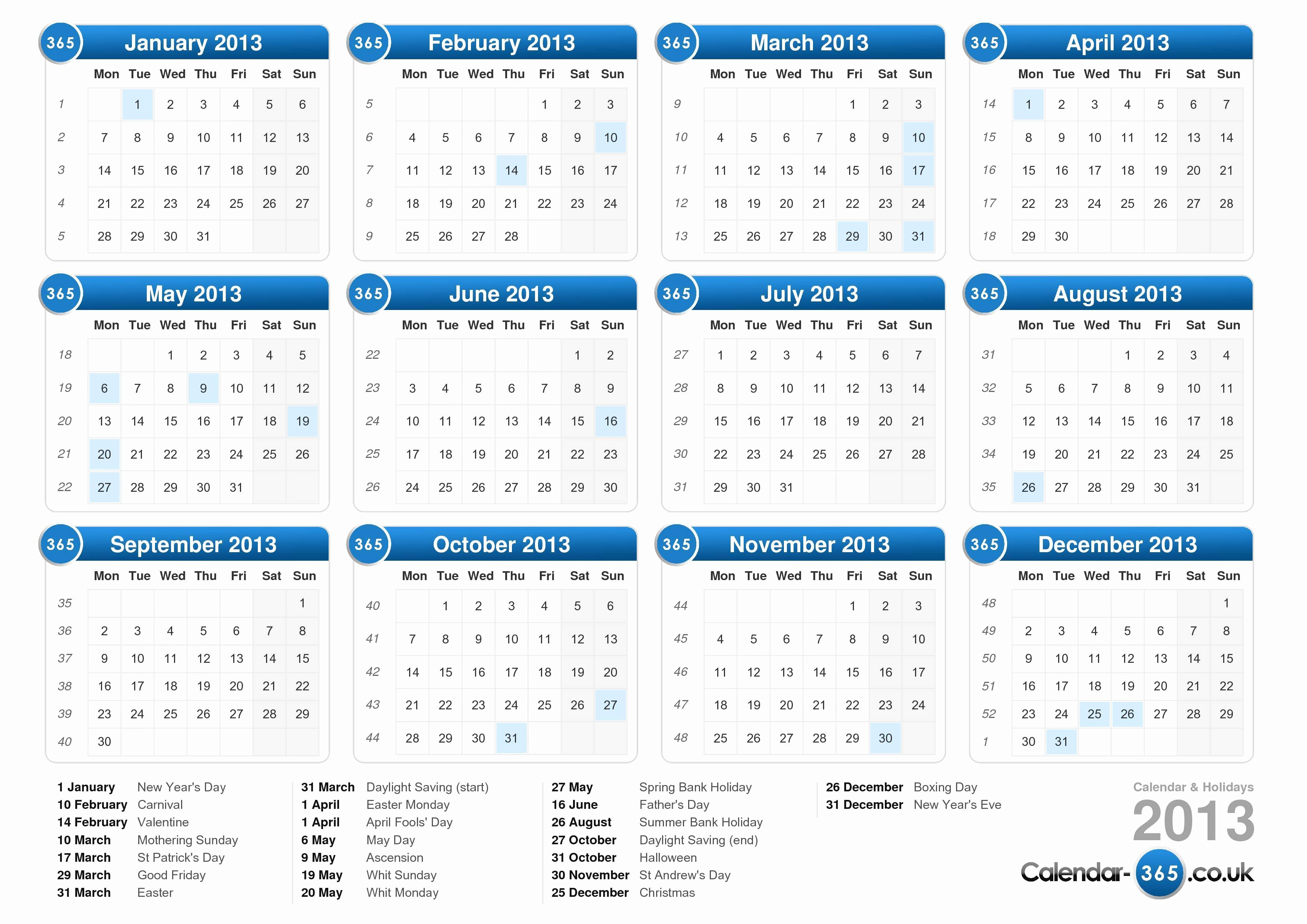 2013 Calendar Printable One Page Fresh Calendar 2013