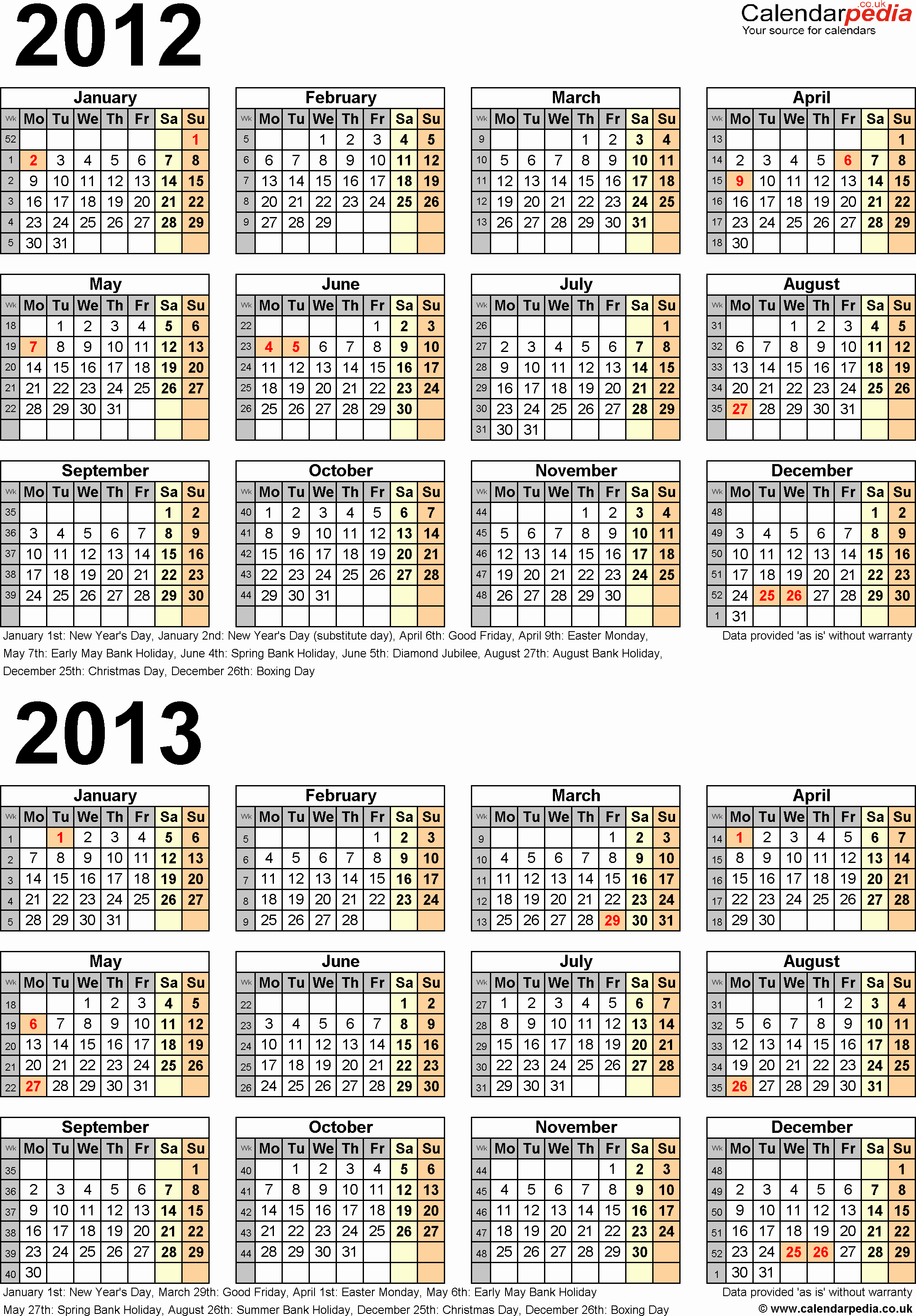 2013 Calendar Printable One Page Fresh Two Year Calendars for 2012 & 2013 Uk for Excel