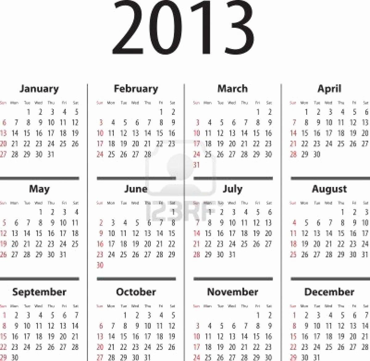 2013 Calendar Printable One Page Inspirational 2013 Calendar 001a5