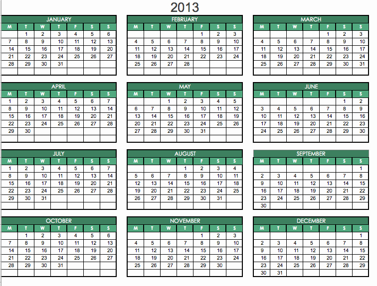 2013 Calendar Printable One Page Lovely 2013 Printable E Page Excel Omahdesigns Net