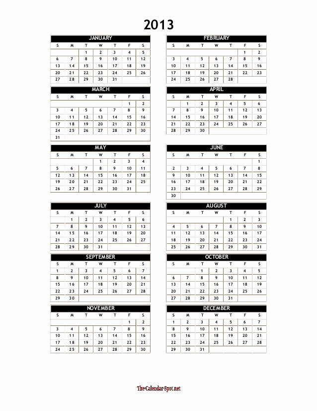 "2013 Calendar Printable One Page Lovely Search Results for ""2013 E Page Calendar Template Yearly"