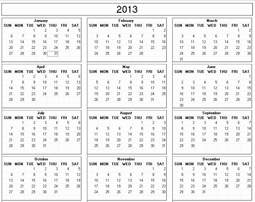 2013 Calendar Printable One Page Luxury 12 Month Calendar 2013 Free Printable 2013 Monthly