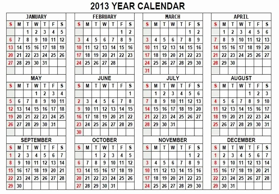 2013 Calendar Printable One Page Luxury Printable Calendars