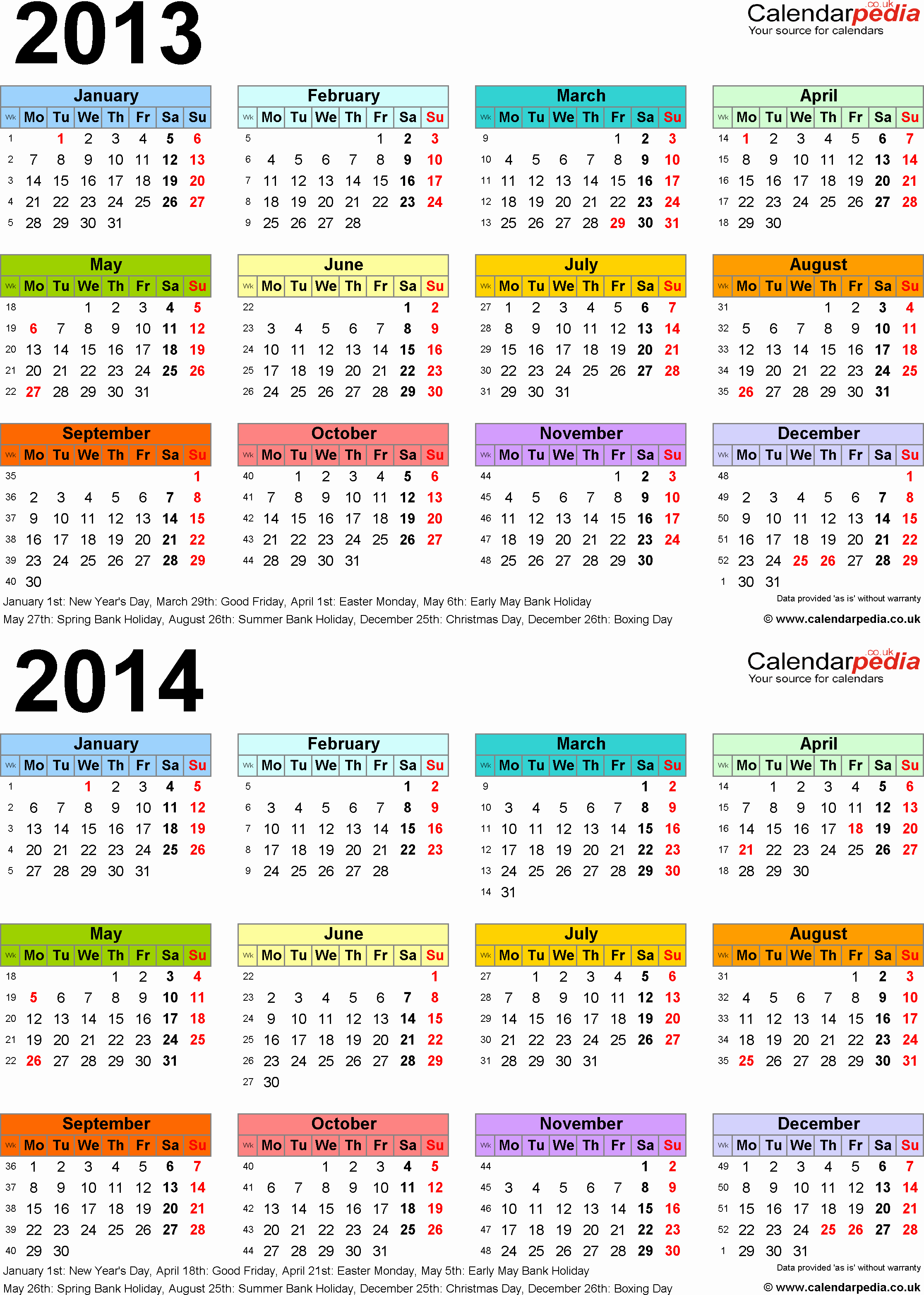 2013 Calendar Printable One Page Luxury Two Year Calendars for 2013 & 2014 Uk for Excel