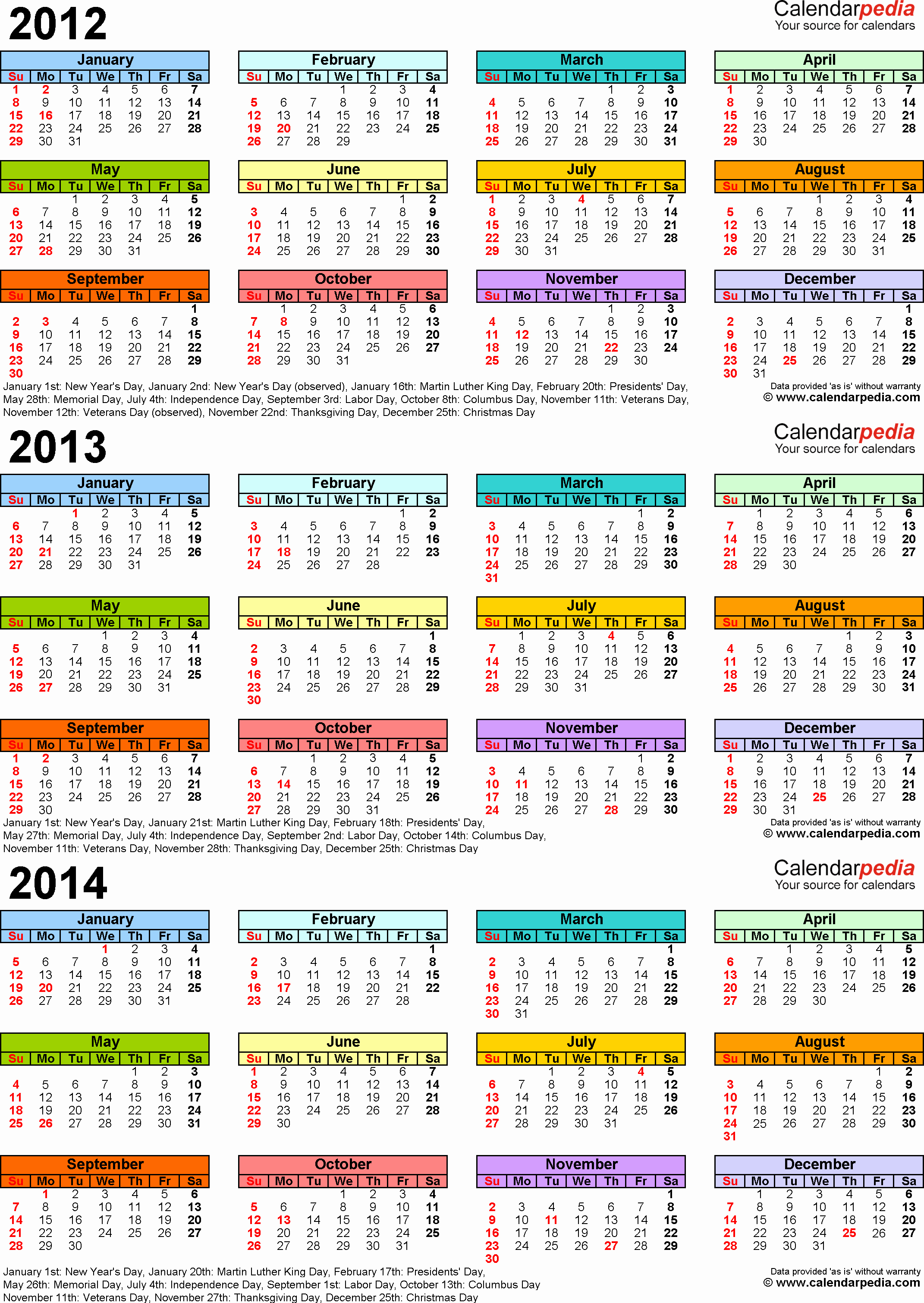 2013 Calendar Printable One Page New 2012 2013 2014 Calendar 2 Three Year Printable Pdf Calendars