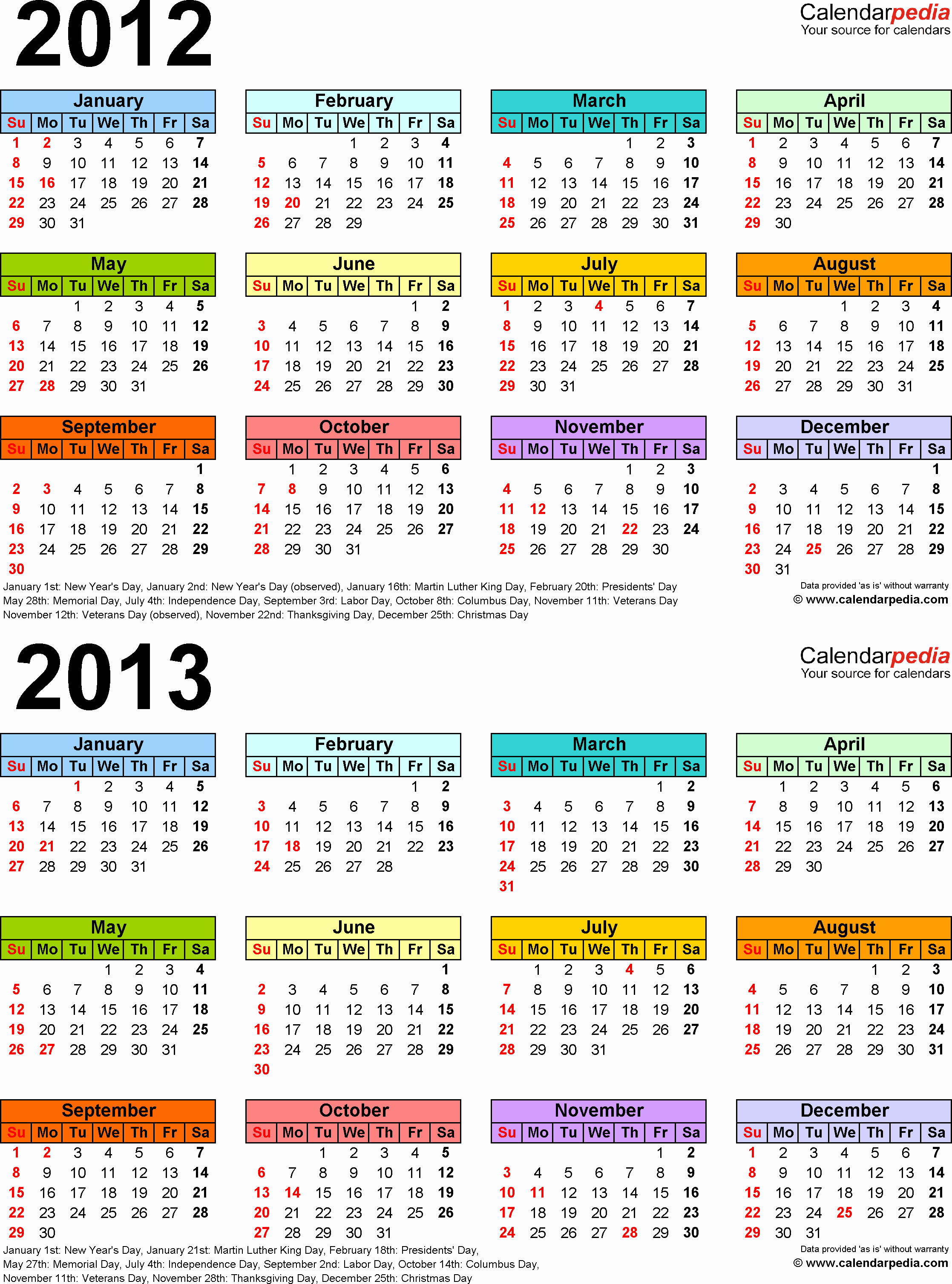 2013 Calendar Printable One Page New 2012 2013 Calendar Free Printable Two Year Word Calendars