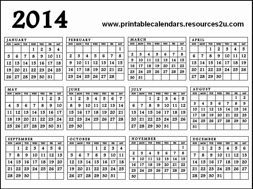 2013 Calendar Printable One Page New Calendar 2014 Printable E Page