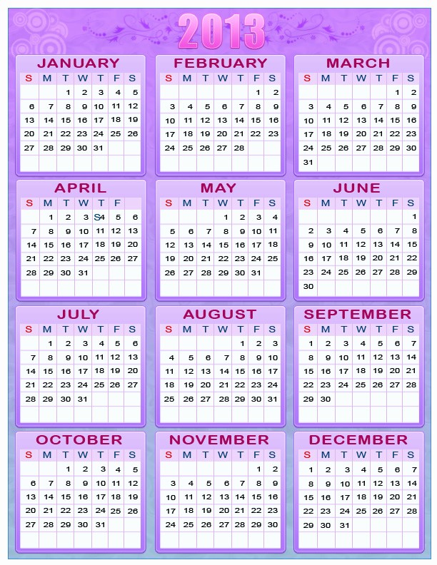 2013 Calendar Printable One Page New Calendar whole Year E Page