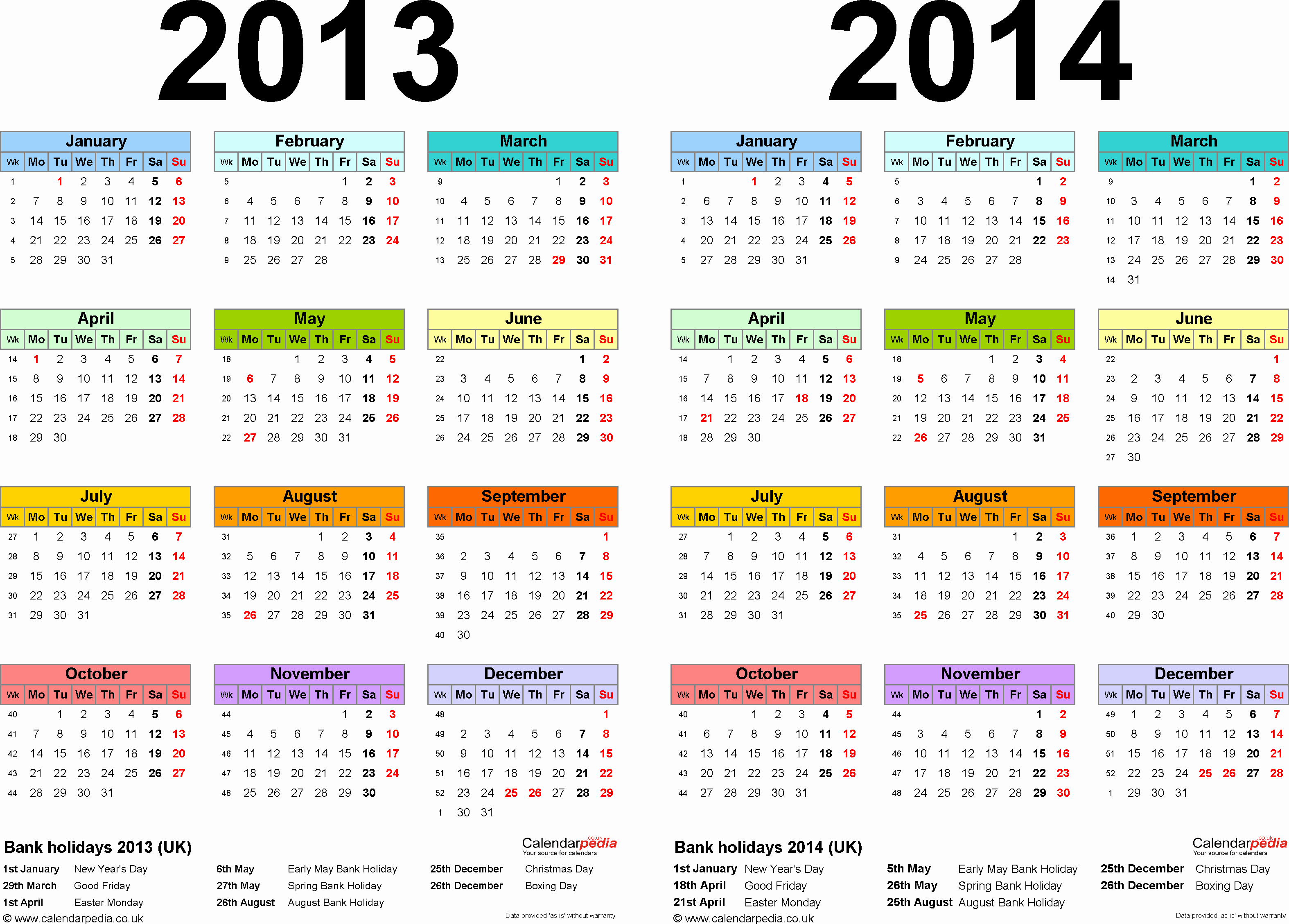 2013 Calendar Printable One Page New Two Year Calendars for 2013 & 2014 Uk for Excel