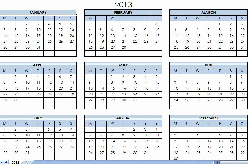 2013 Calendar Printable One Page Unique 2013 Printable E Page Calendar Yearly Excel Template