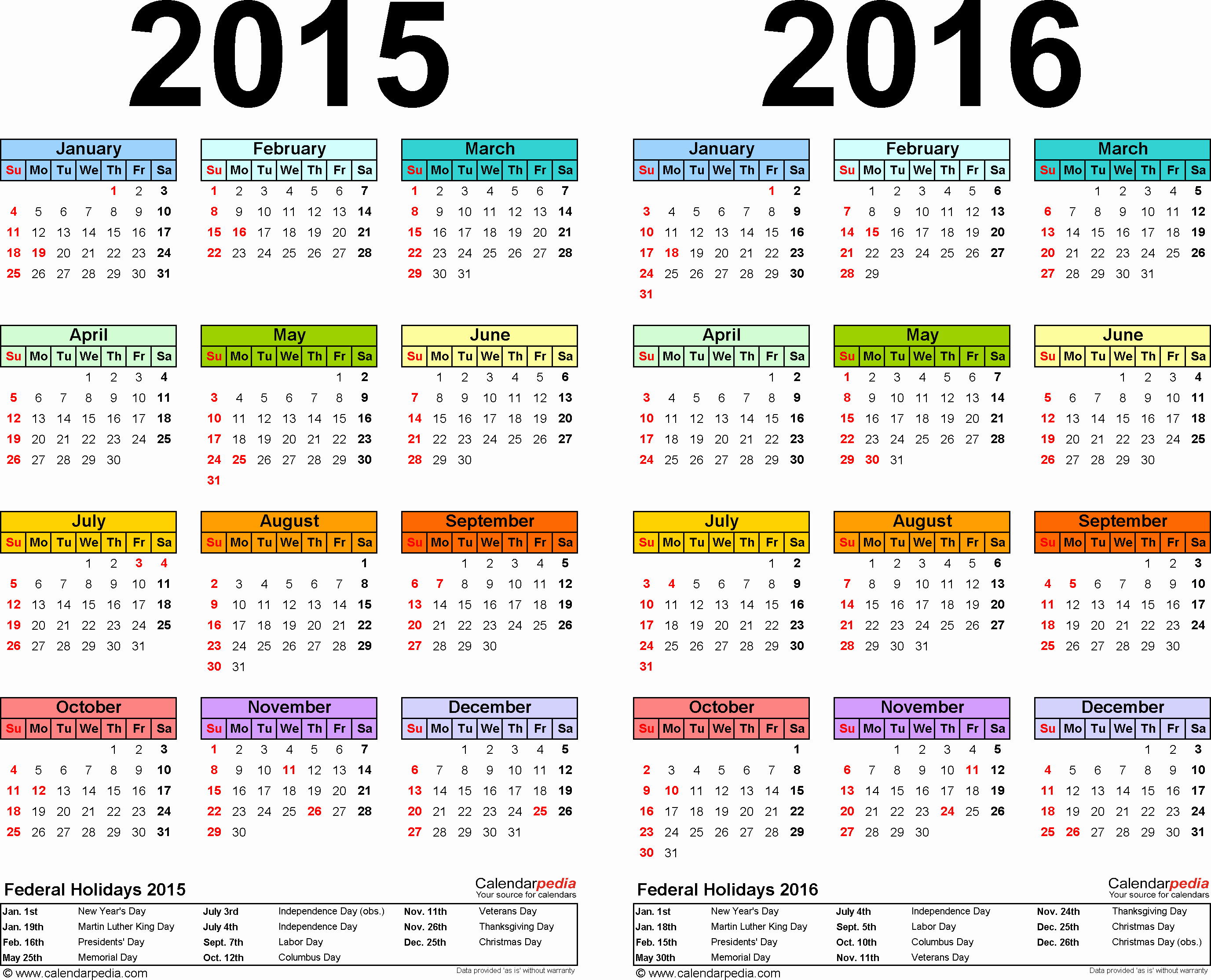 2015 Calendar with Holidays Excel Elegant 2015 2016 Calendar Free Printable Two Year Excel Calendars