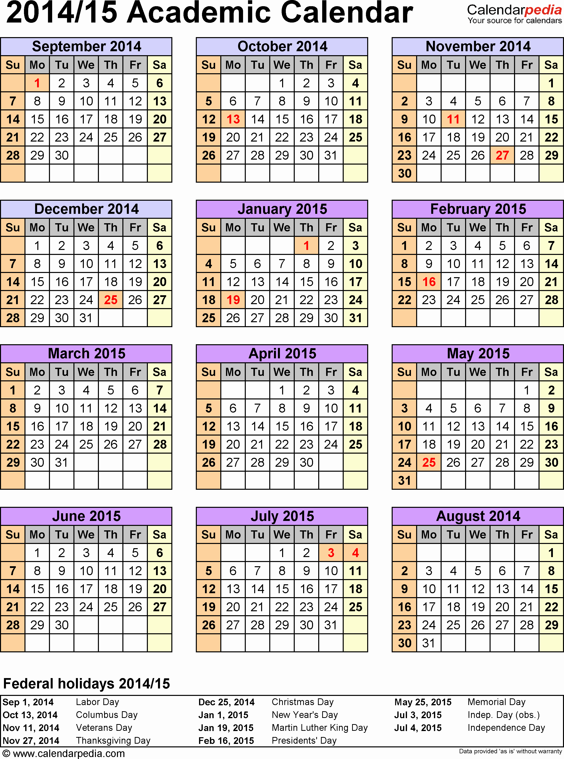 2015 Calendar with Holidays Excel Fresh Academic Calendars 2014 2015 as Free Printable Pdf Templates