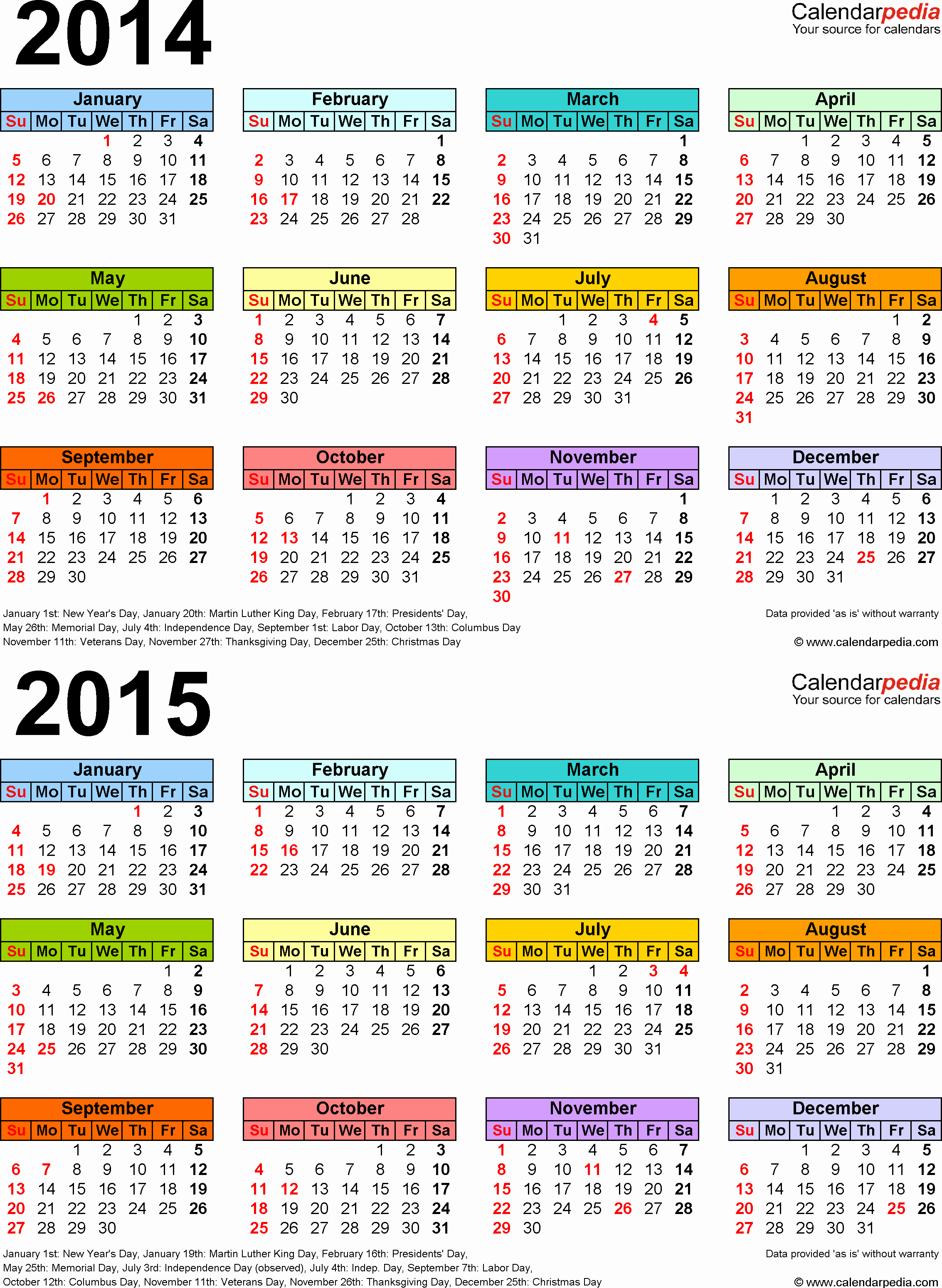 2015 Calendar with Holidays Excel Lovely 2014 2015 Calendar Free Printable Two Year Pdf Calendars