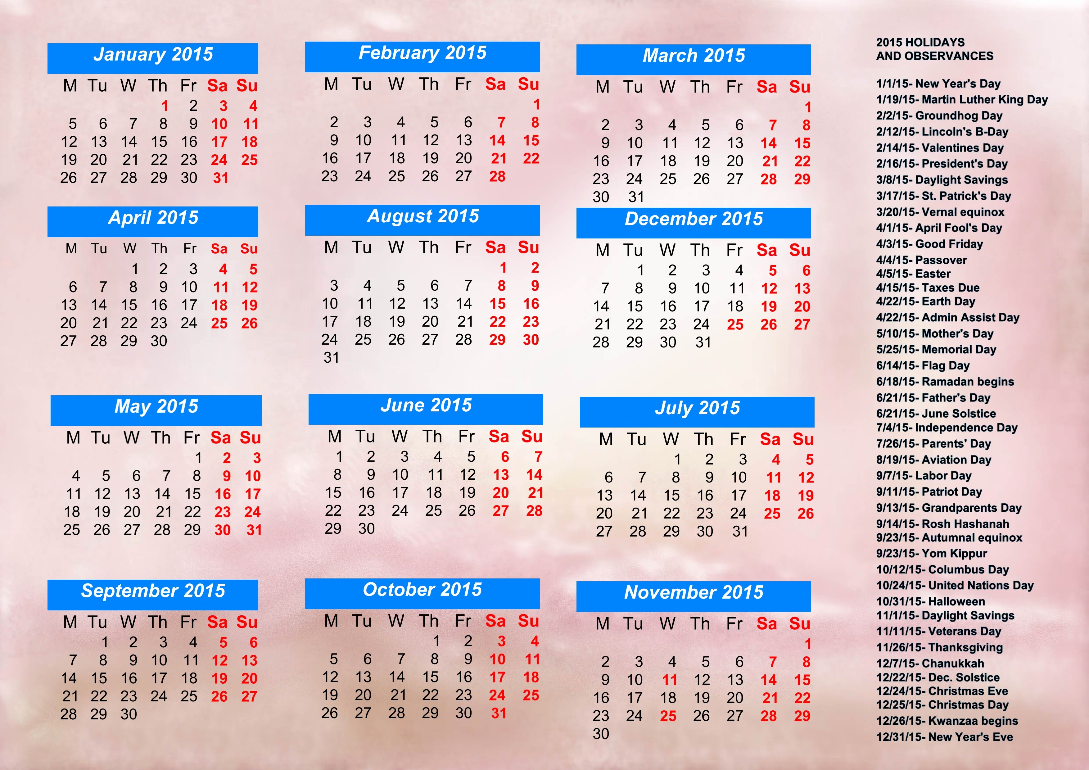 2015 Calendar with Holidays Excel Lovely Calendar with Holidays 2015