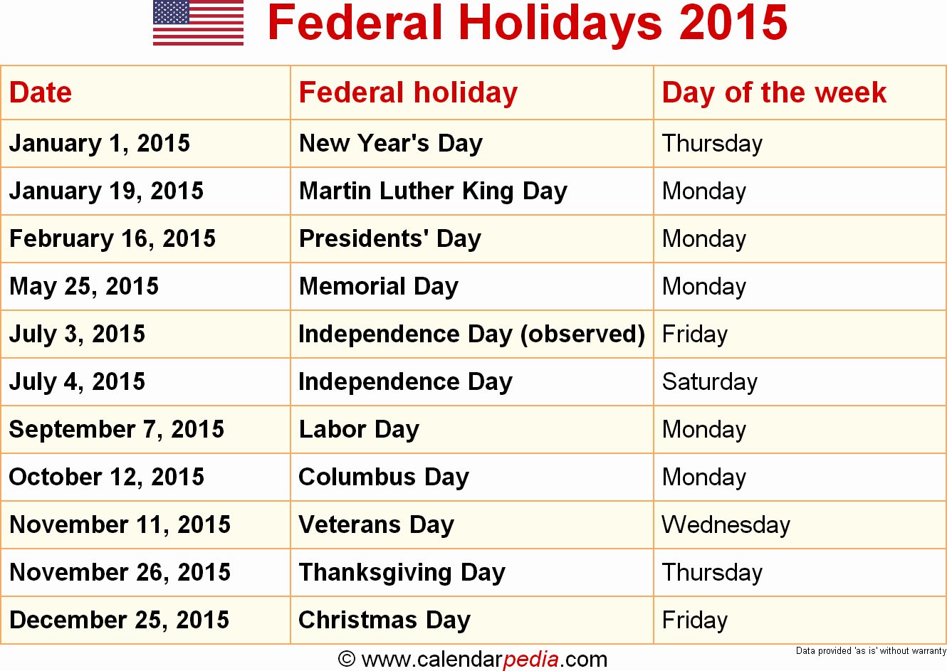 2015 Calendar with Holidays Excel Luxury Federal Holidays 2015