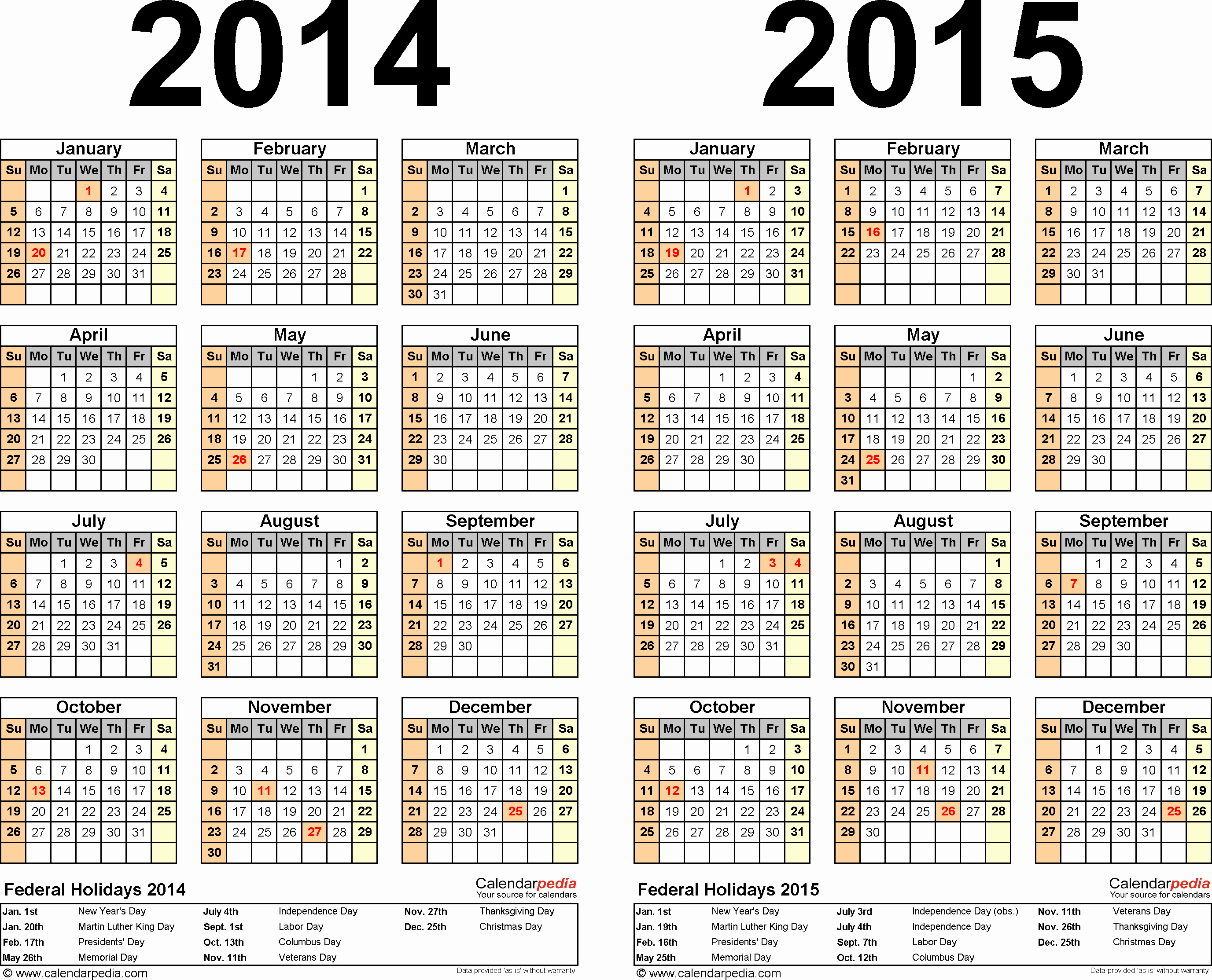 2015 Calendar with Holidays Excel New 2014 2015 Calendar Free Printable Two Year Excel Calendars