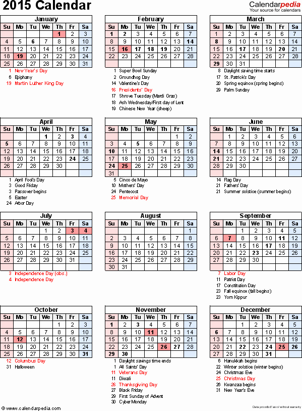2015 Calendar with Holidays Excel New 2015 Calendar Excel Download 16 Free Printable Templates