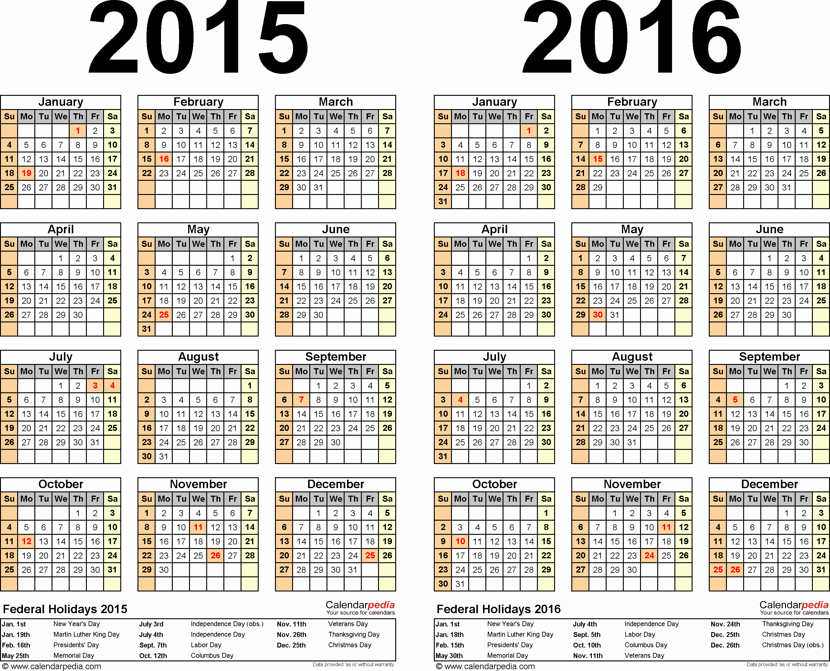 2015 Yearly Calendar Printable Landscape Awesome 2015 2016 Calendar Free Printable Two Year Word Calendars