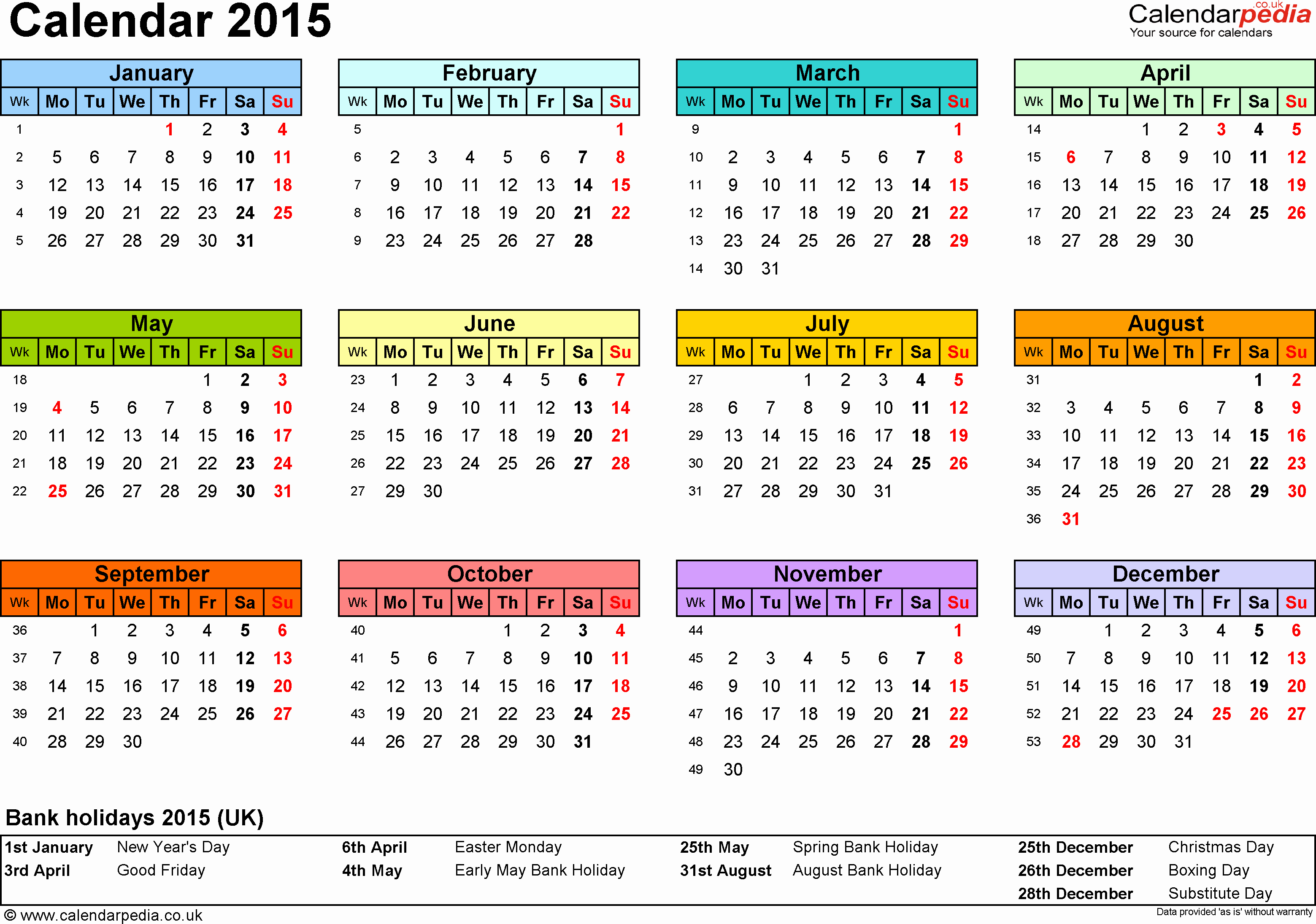 2015 Yearly Calendar Printable Landscape Awesome Excel Calendar 2015 Uk 16 Printable Templates Xlsx Free