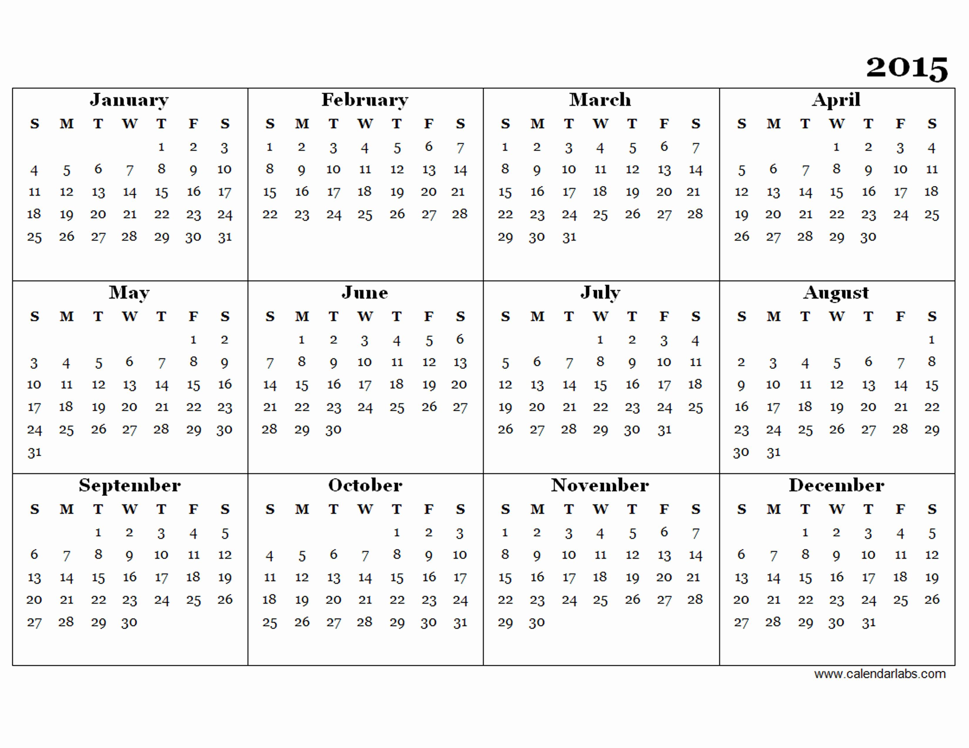 2015 Yearly Calendar Printable Landscape Beautiful Calendar Template 2015 Calendar Labsml