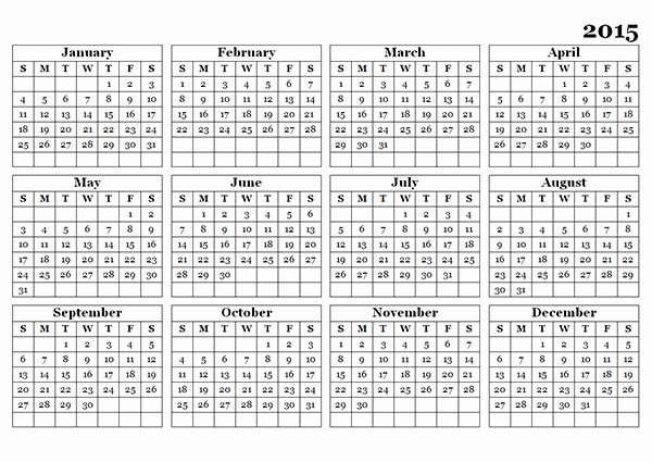 2015 Yearly Calendar Printable Landscape Best Of 2015 Yearly Calendar Template 09 Free Printable Templates
