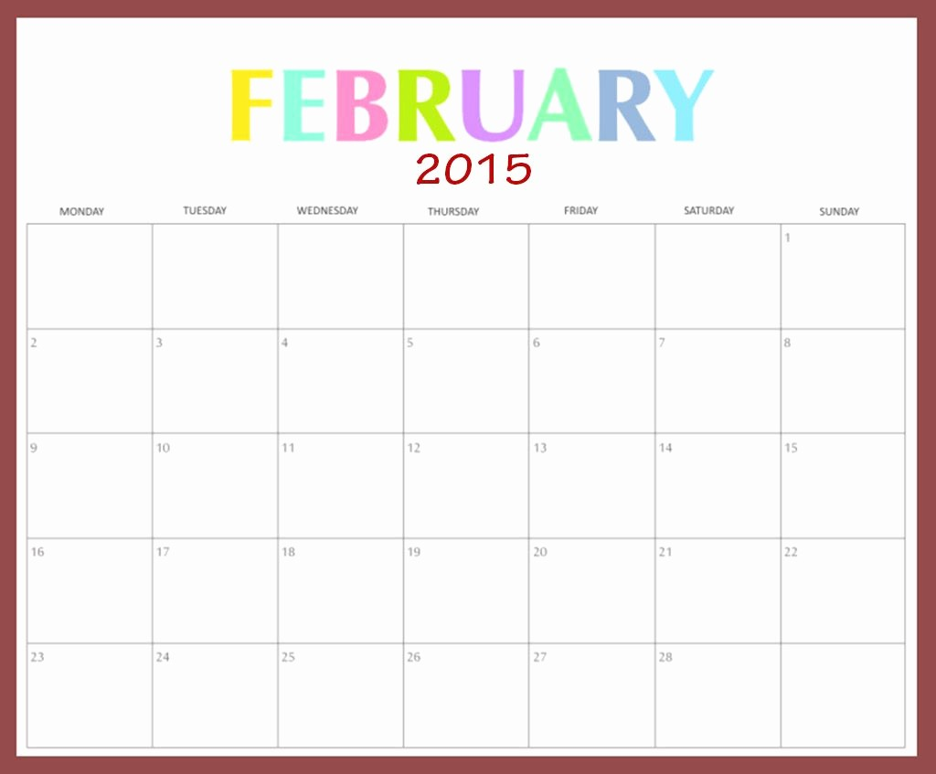 2015 Yearly Calendar Printable Landscape Best Of Download February 2015 Calendar Landscape Template