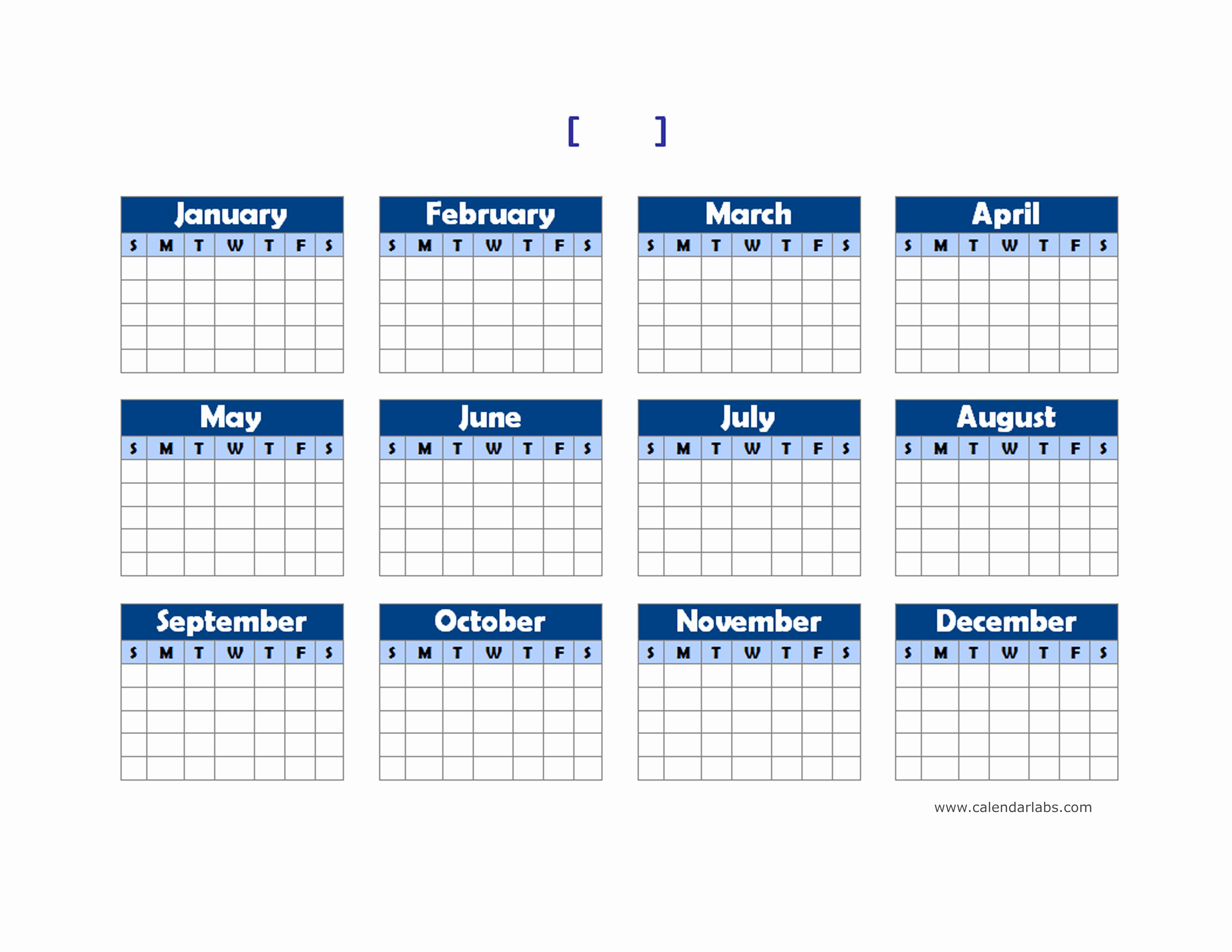 2015 Yearly Calendar Printable Landscape Best Of Yearly Blank Calendar Landscape Free Printable Templates
