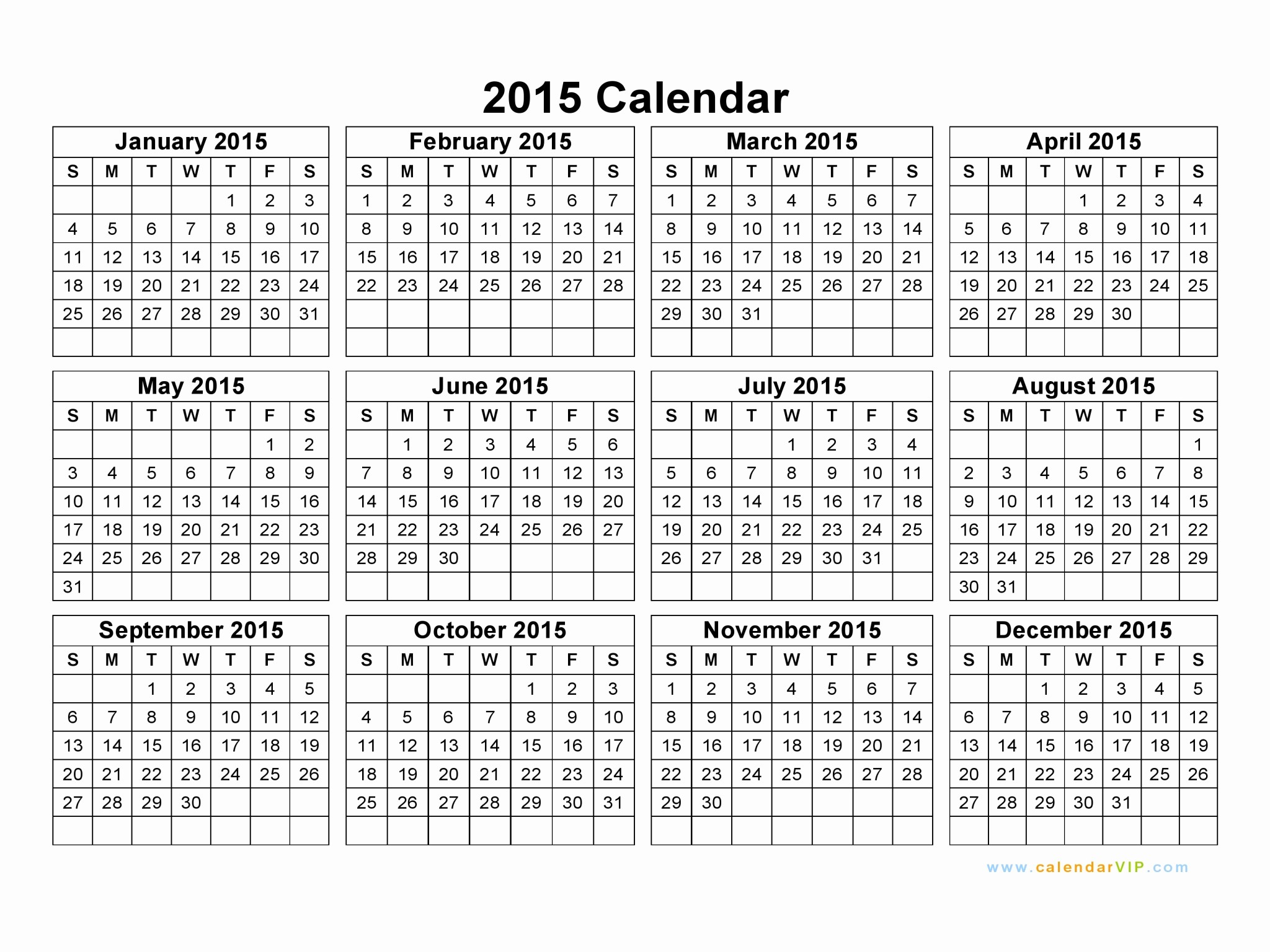 2015 Yearly Calendar Printable Landscape Elegant 2015 Calendar Blank Printable Calendar Template In Pdf