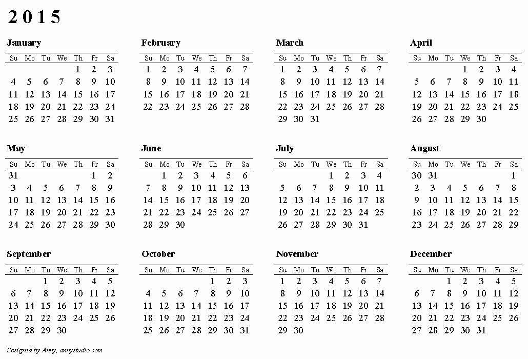 2015 Yearly Calendar Printable Landscape Elegant 2015 Calendars