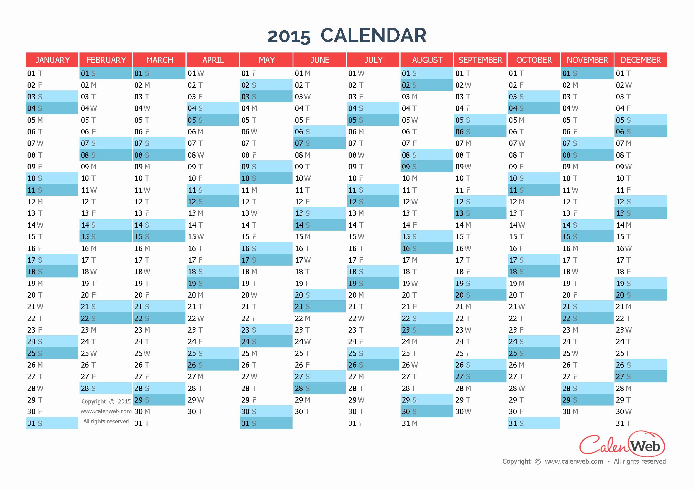 2015 Yearly Calendar Printable Landscape Elegant Yearly Calendar – Year 2015 Yearly Horizontal Planning