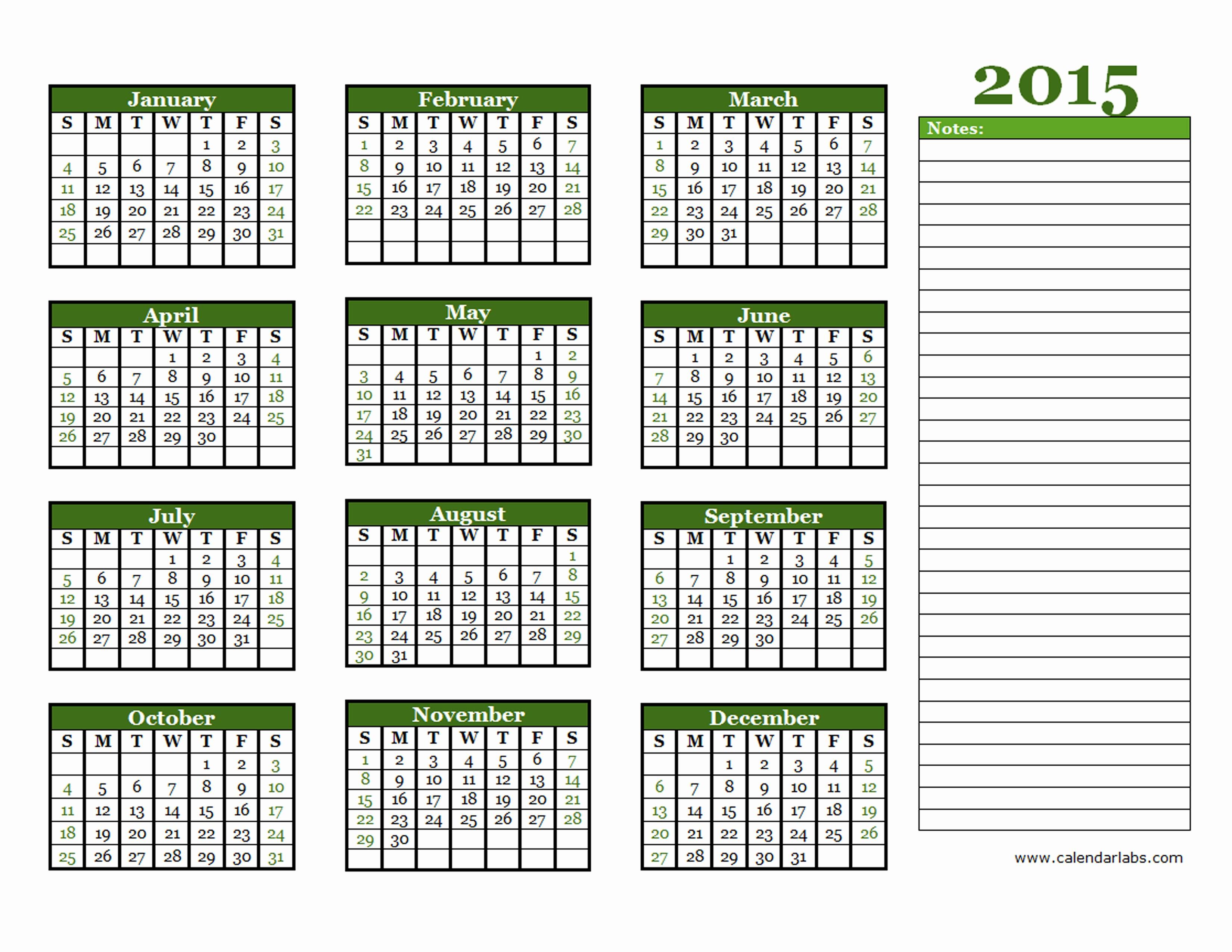 2015 Yearly Calendar Printable Landscape Fresh 2015 Yearly Calendar Free Printable Templates