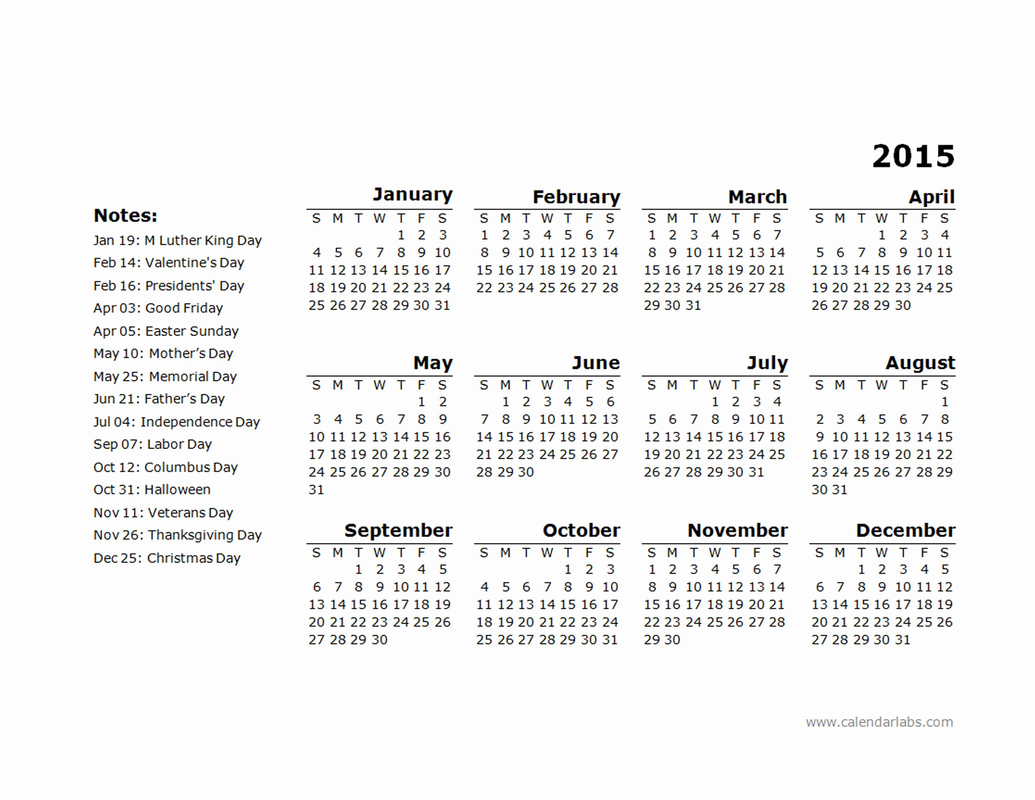 2015 Yearly Calendar Printable Landscape Fresh 2015 Yearly Calendar Template 11 Free Printable Templates