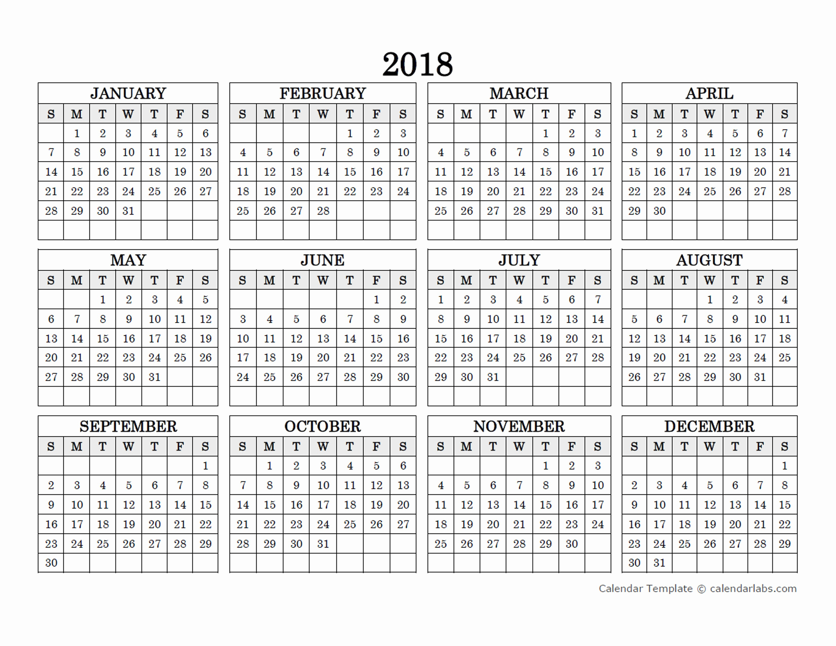 2015 Yearly Calendar Printable Landscape Fresh 2018 Blank Yearly Calendar Landscape Free Printable