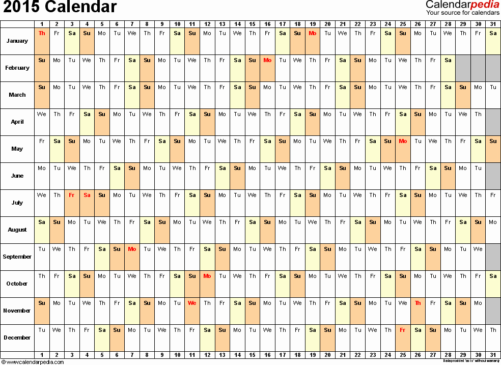 2015 Yearly Calendar Printable Landscape Fresh Template 3 2015 Calendar for Excel Days Horizontally