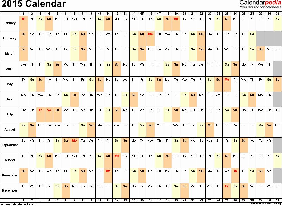 2015 Yearly Calendar Printable Landscape Fresh Template 3 2015 Calendar for Excel Days Horizontally