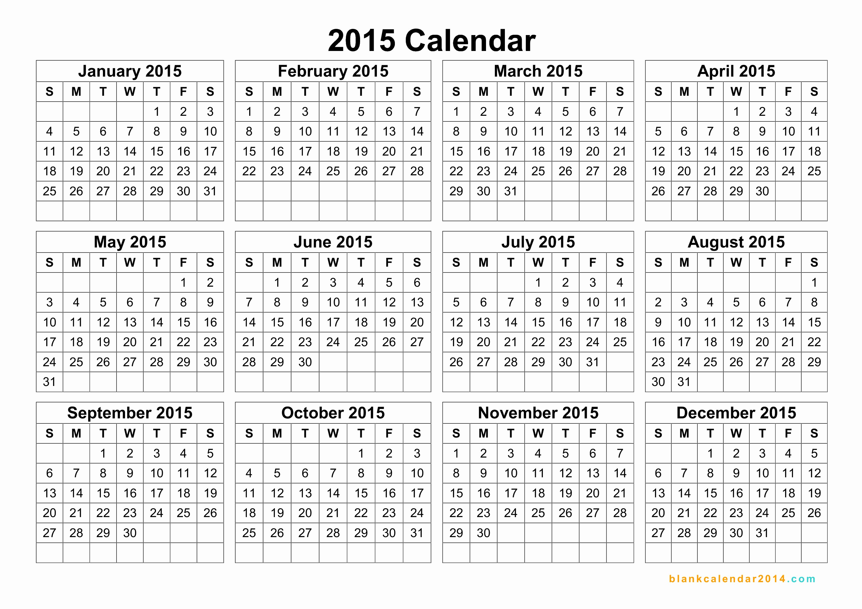 2015 Yearly Calendar Printable Landscape Inspirational Yearly Calendar 2015 – Templates Free Printable