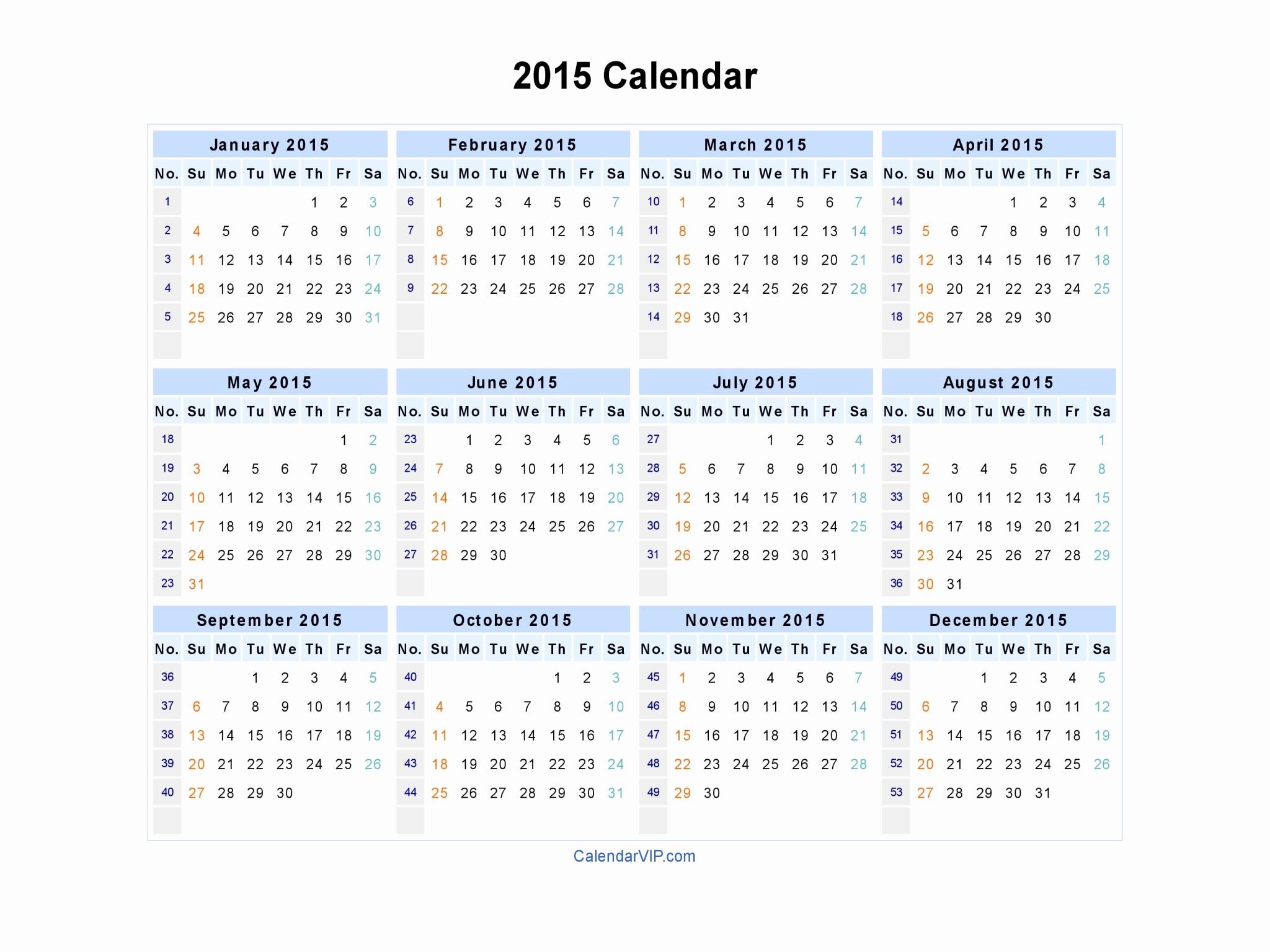 2015 Yearly Calendar Printable Landscape Unique 2015 Calendar Blank Printable Calendar Template In Pdf