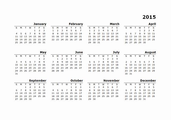 2015 Yearly Calendar Printable Landscape Unique 2015 Yearly Calendar Template 10 Free Printable Templates