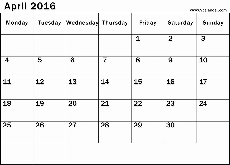 2015 Yearly Calendar Printable Landscape Unique April 2016 Calendar Landscape – 2017 Printable Calendar