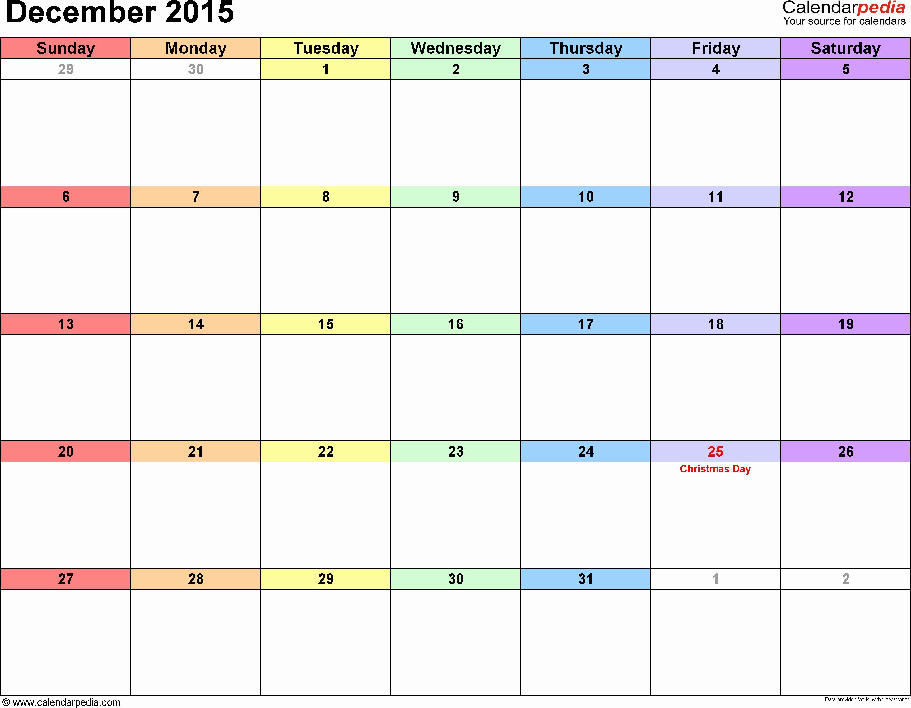 2015 Yearly Calendar Printable Landscape Unique December 2015 Calendars for Word Excel & Pdf