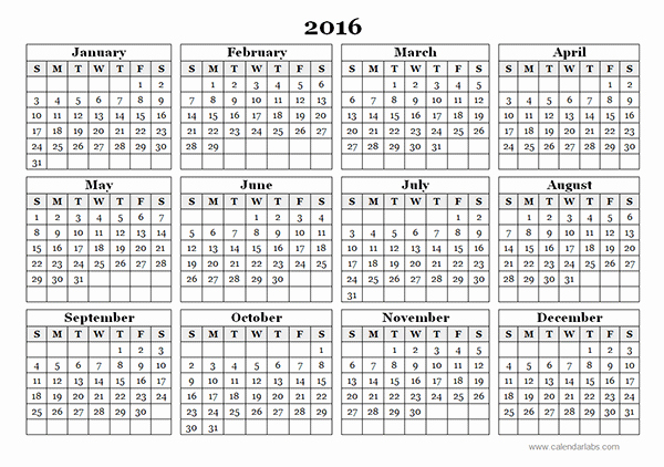 2016 12 Month Calendar Printable Awesome 2016 Yearly Calendar Template 09 Free Printable Templates