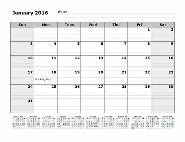 2016 12 Month Calendar Printable Beautiful Free Printable Templates for Lined Calendars Free